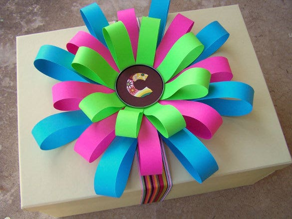 colorful paper gift packing construction idea