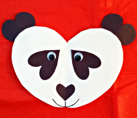 heart panda craft for kids paper construction