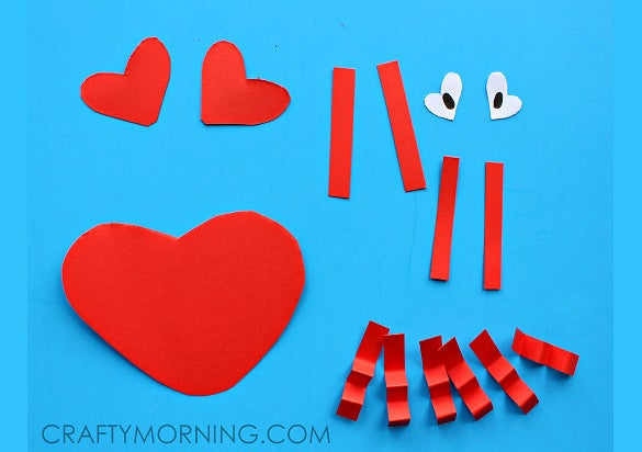 heart crab valentines day craft for kids printable