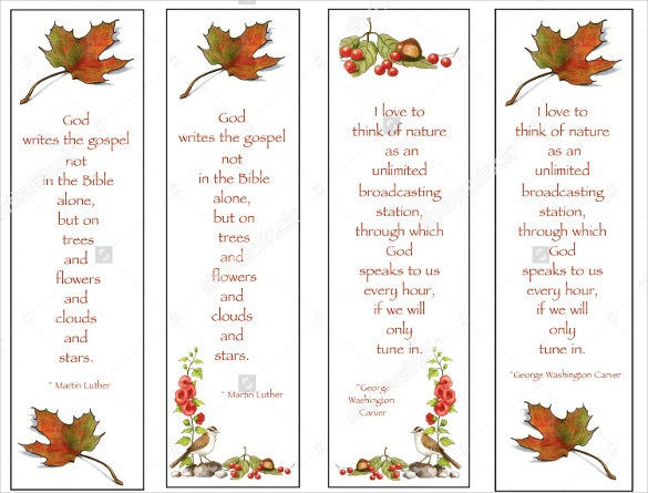 christian bookmarks with nature theme