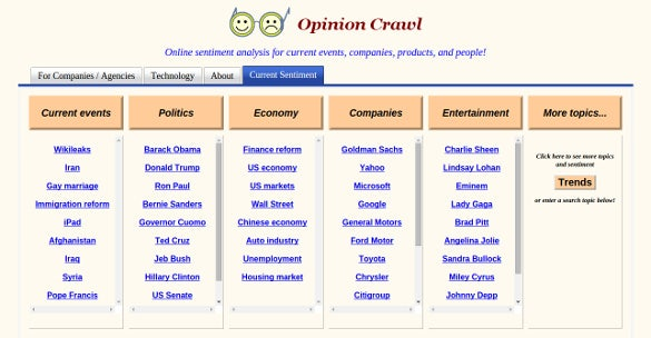 opinion crawl online sentiment analysis for current events