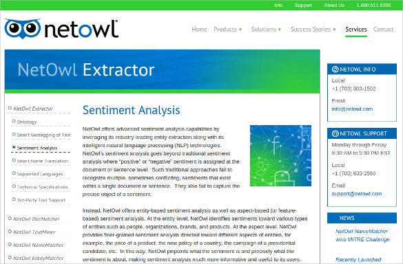 netowl extractor sentiment analysis