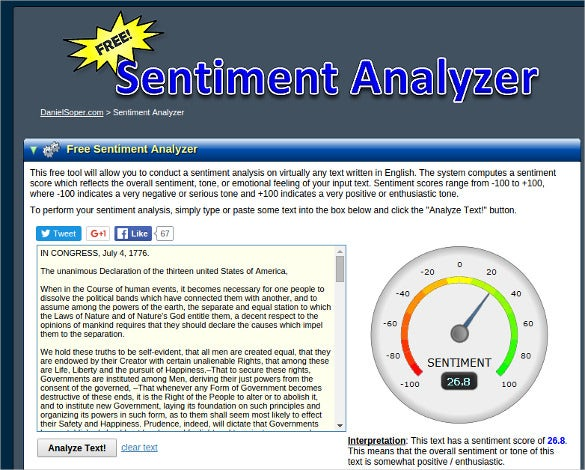 free daniel soper sentiment analyzer tool