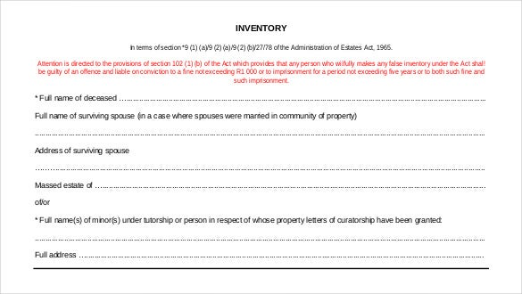 estate administration inventory sample format