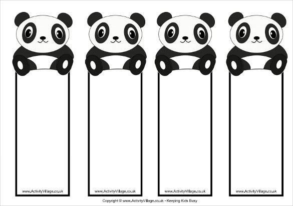 free panda theme bookmark templates download