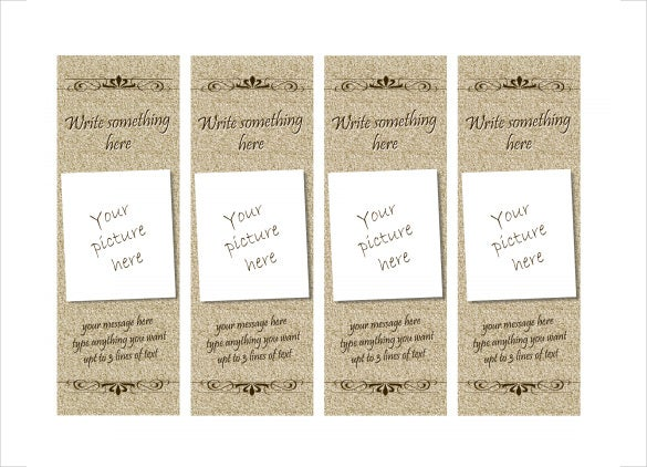 free formal bookmark template download