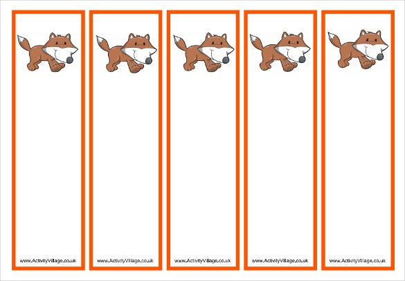 free printable fox bookmark templates for kids