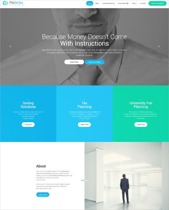 financial advertising portfolio wordpress theme