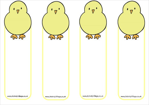 14 free bookmark templates psd vector eps free for Easter chick templates free