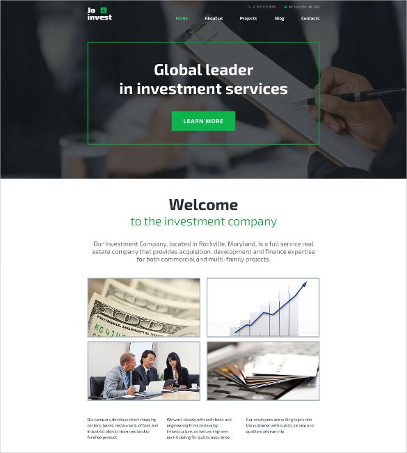 investment company portfolio wordpress theme