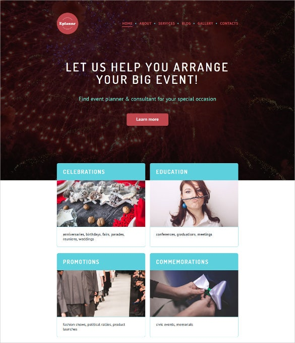 event planner portfolio wordpress template