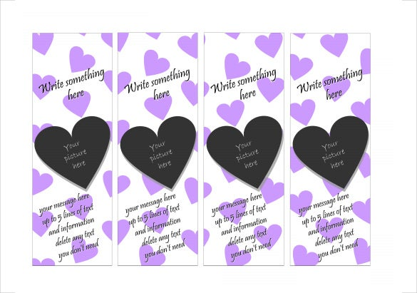 free heart bookmark template