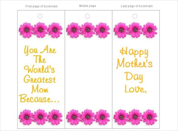 mothers day free bookmark card templates download