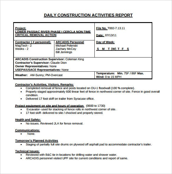 Daily Construction Report Template 25 Free Word PDF Documents – Daily Activity Report Template