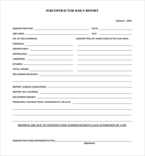 free printable subcontractor daily report template pdf download