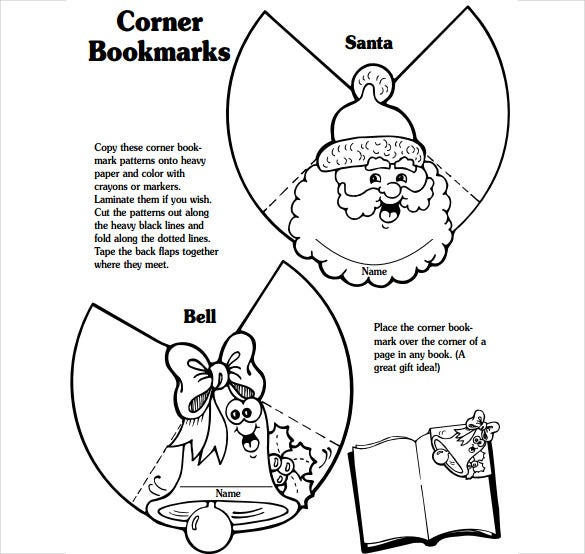santa corner bookmark template free download