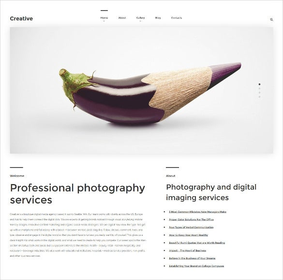 creative art photography wordpress template