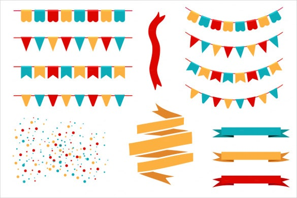 flags pennant banner template