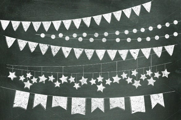 chalkboard pennant banner template