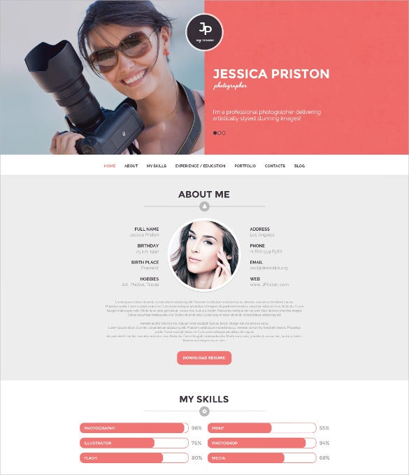 premium photographer cv wordpress theme