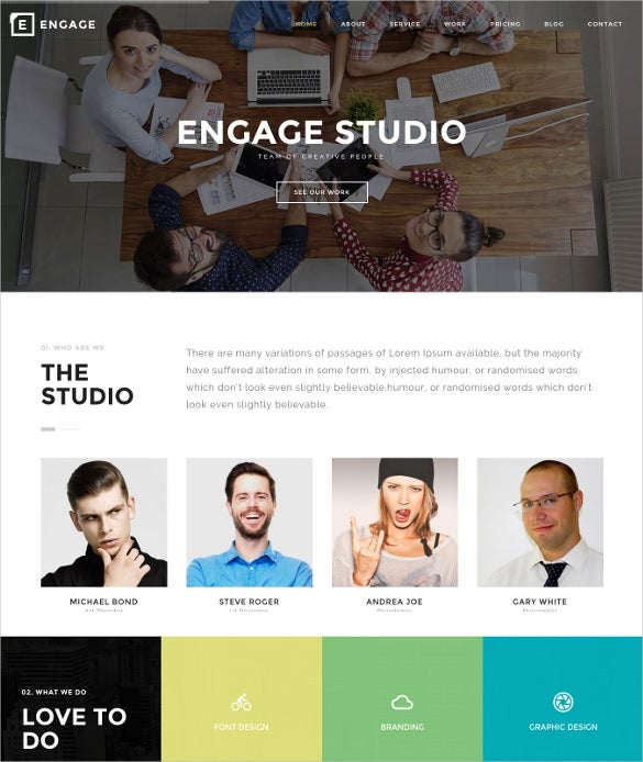 creative one page wordpress photography theme
