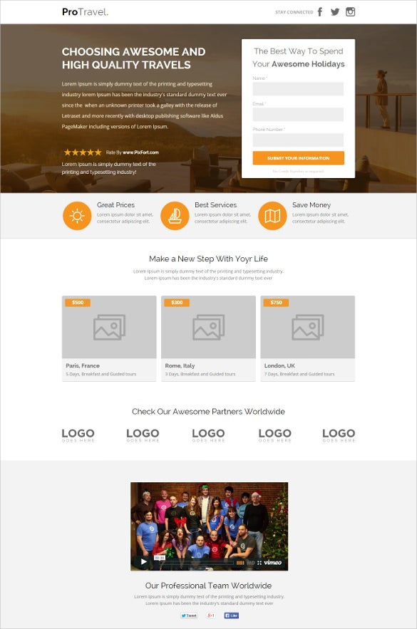 travel agency unbounce website template