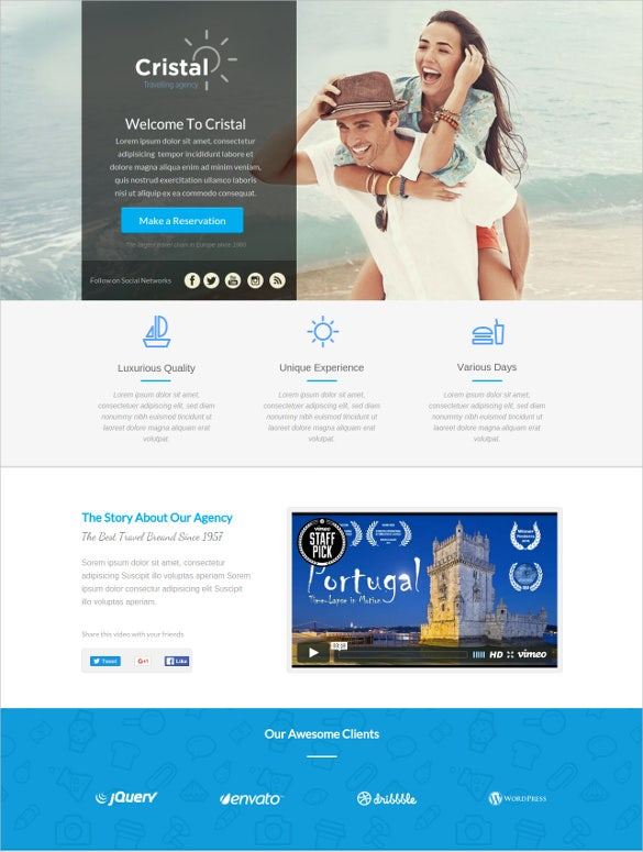 cristal travel agency unbounce website template