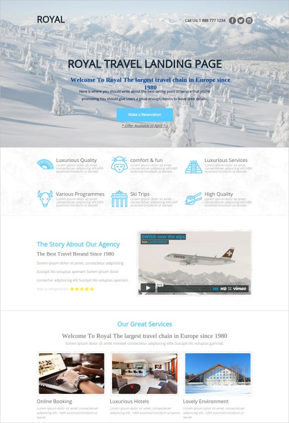 royal travel agency unbounce website template