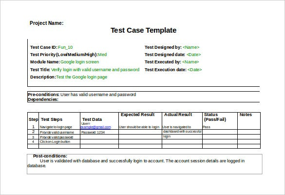 Test Case Template   Free Word Excel Pdf Documents Download