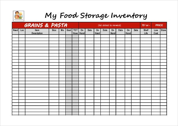 12  food inventory templates  u2013 free  sample  example