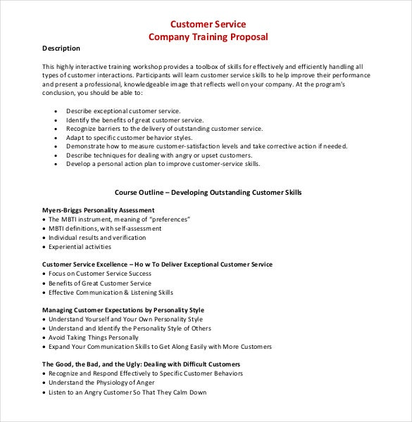 Sample Customer Service Company Training Proposal Template PDF File