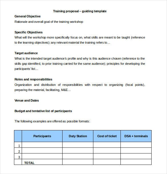 Free Training Proposal Template Word Download  Proposals Templates