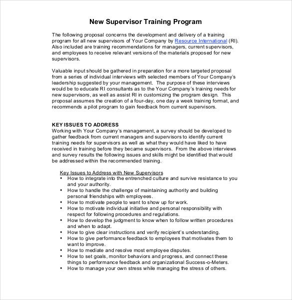 proposal new supervisor training program