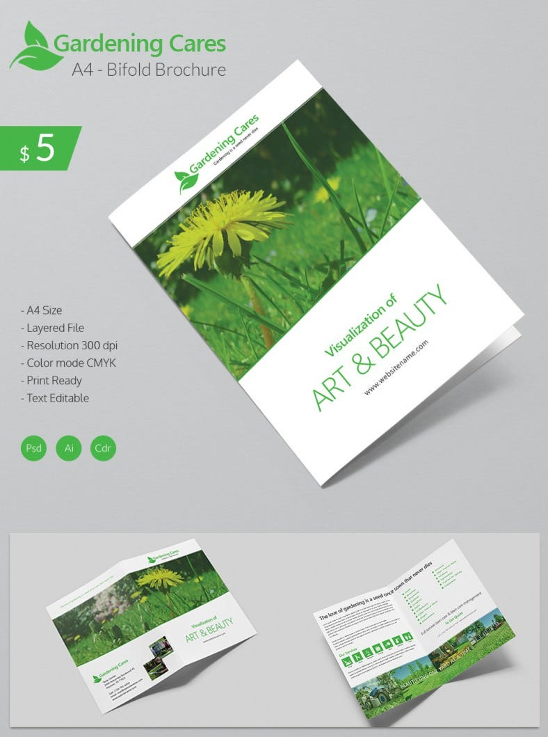 one fold brochure template - beautiful gardening care a4 bi fold brochure template