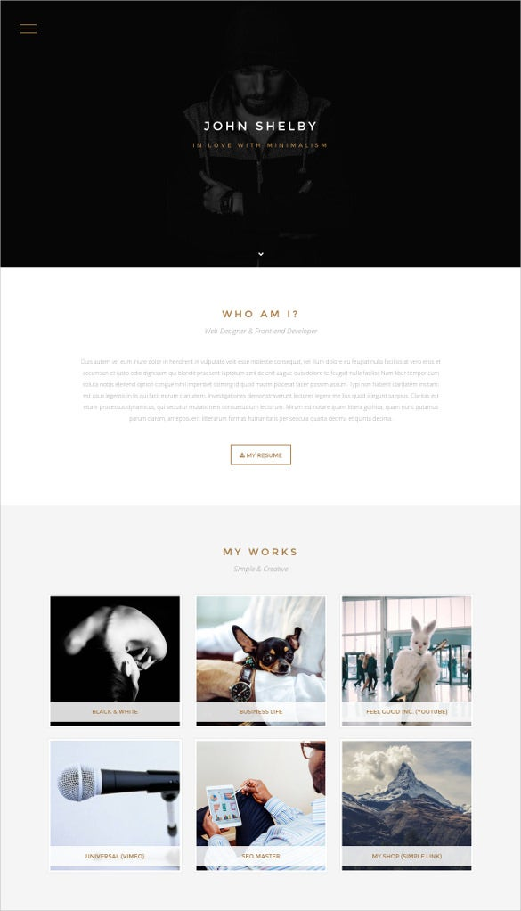 one page html5 website template