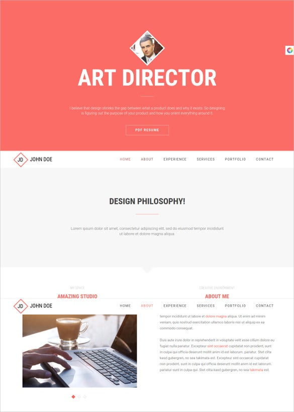 responsive html5 resume cv website template