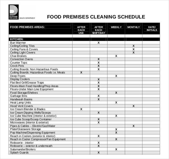 food premises cleaning schedule free pdf format template
