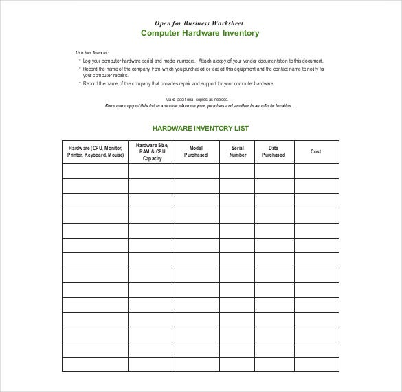 Computer Inventory Form Sample Format  Inventory List Form