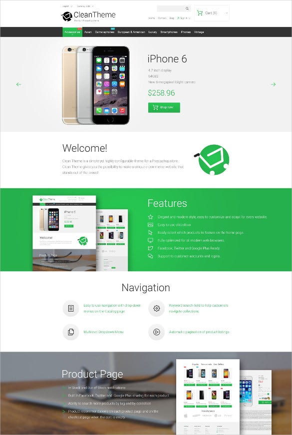 clean mobile prestashop blog theme