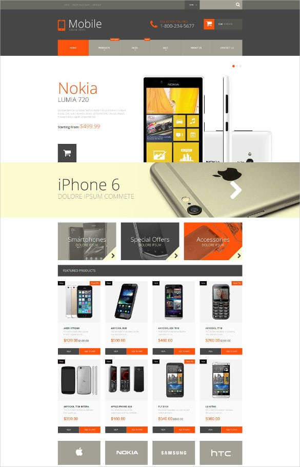 mobile phones shopify blog theme