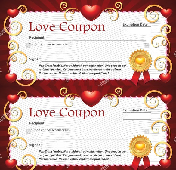 25 love coupon templates psd ai eps pdf free for Coupon making template