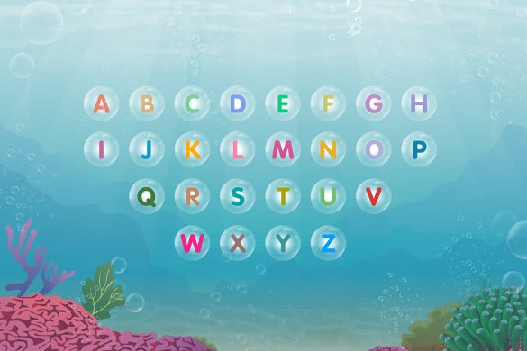 floating bubble alphabet letters in water