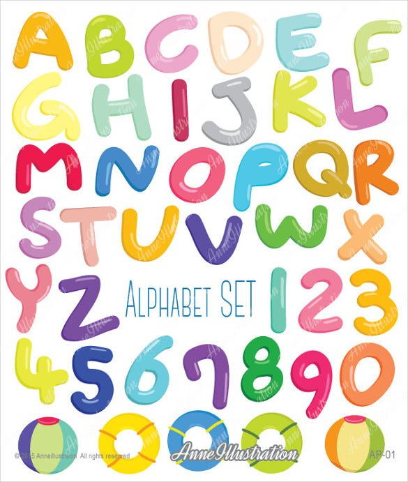 alphabet bubble letters with transparent background