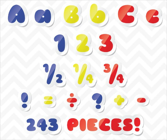 alphabet primary color letters bubble sticker