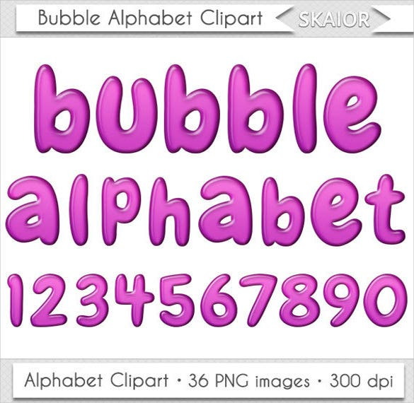 beautiful purple alphabet bubble letter