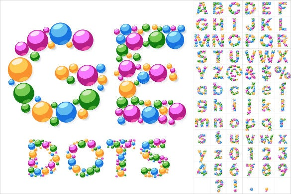 colorful unique vector alphabet bubble letters template