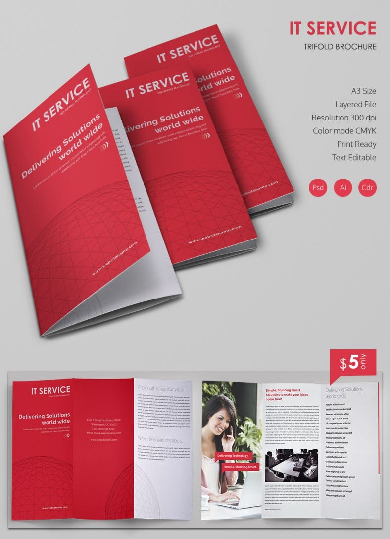 20 best free and premium corporate brochure templates for Folded brochure template