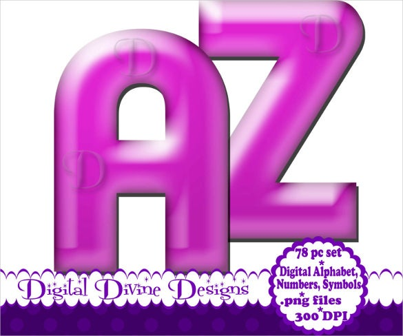 light purple digital alphabet bubble letter