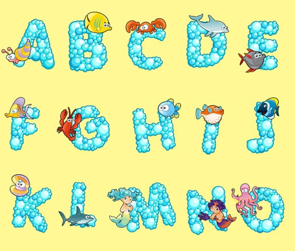 sea animals art fonts alphabet bubble letters