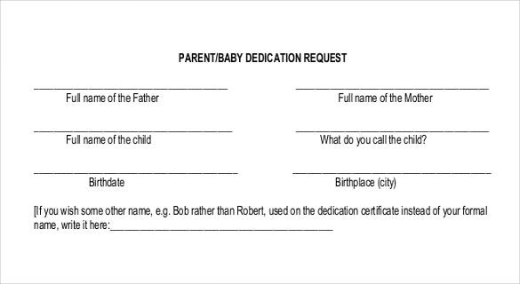 child dedication template free pdf format